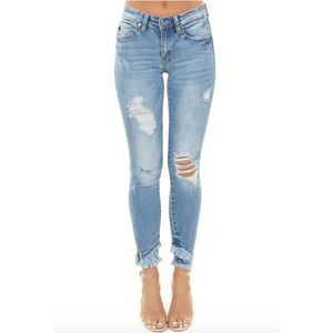Kan Can Distressed Skinny Jeans With Frayed Hem